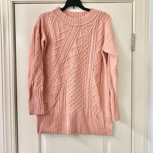 J. Crew Pink Chunky Cable Knit Sweater Size Small